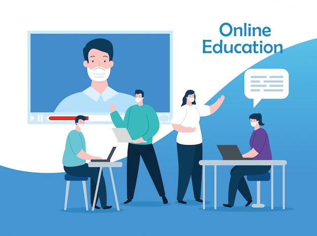 Groepsmensen in ontwerp van de onderwijs het online illustratie Gratis Vector