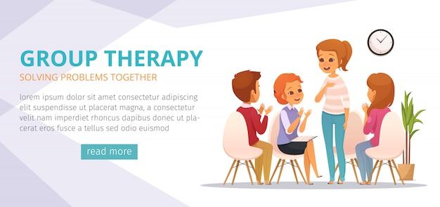 Groepstherapie cartoon banner met het oplossen van problemen samen beschrijvingen en lees meer knop Gratis Vector