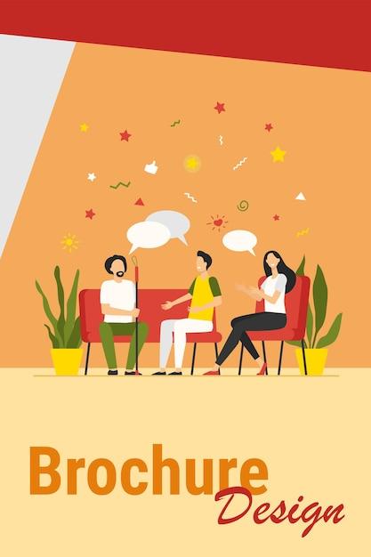 Groepstherapie concept. mensen ontmoeten elkaar en praten, bespreken problemen, geven en krijgen steun. vectorillustratie voor counseling, verslaving, baan als psycholoog, concept van ondersteuningssessie. Gratis Vector
