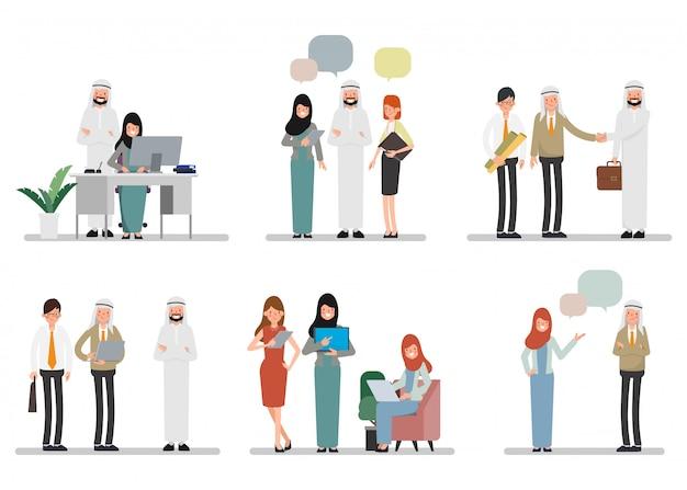 Groepswerk van moslim arabische mensen op kantoor. internationaal zakendoen. Premium Vector