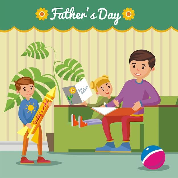 Groet happy fathers day concept Gratis Vector