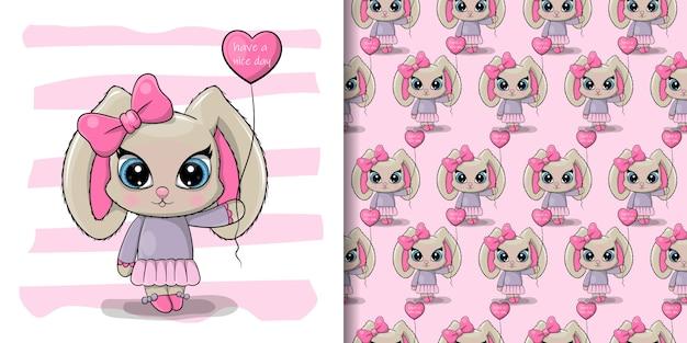 Groet verjaardagskaart cute cartoon konijn meisje met een ballon Premium Vector