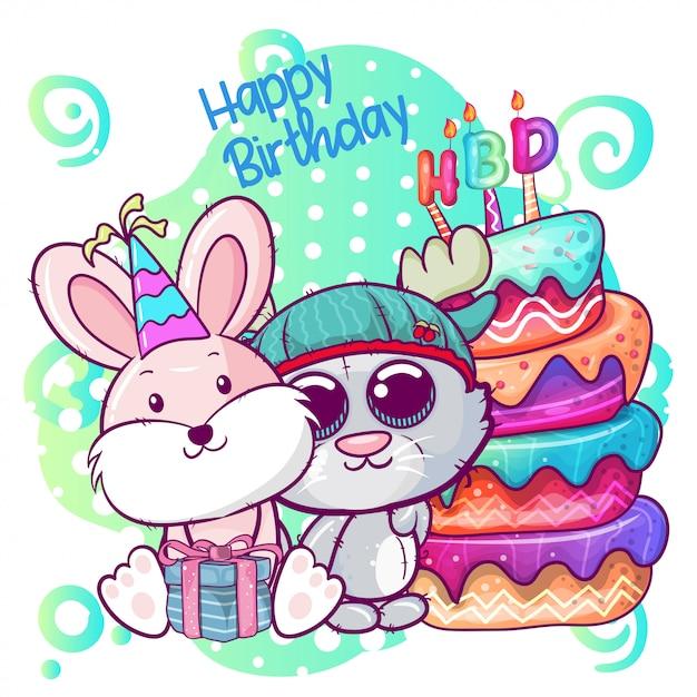 Groet verjaardagskaart met schattige kitten en konijn Premium Vector