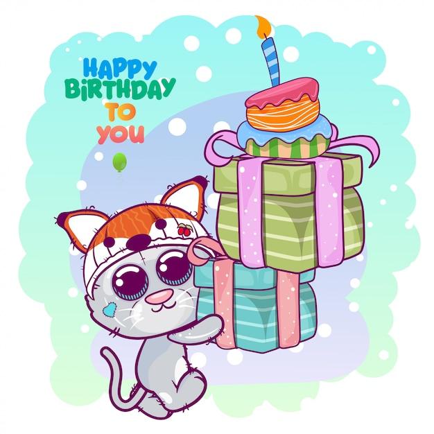 Groet verjaardagskaart met schattige kitten Premium Vector