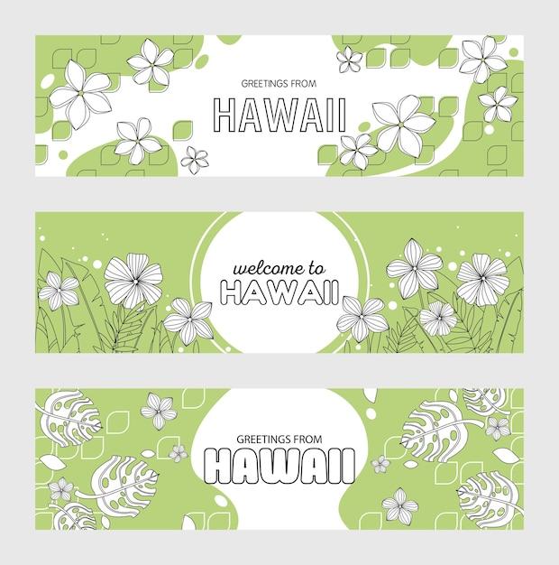Groeten uit hawaii, welkom bij hawaii-spandoekset Gratis Vector