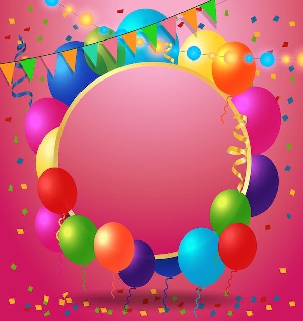 Groetkaart, Confetti En Ballonnen Vector