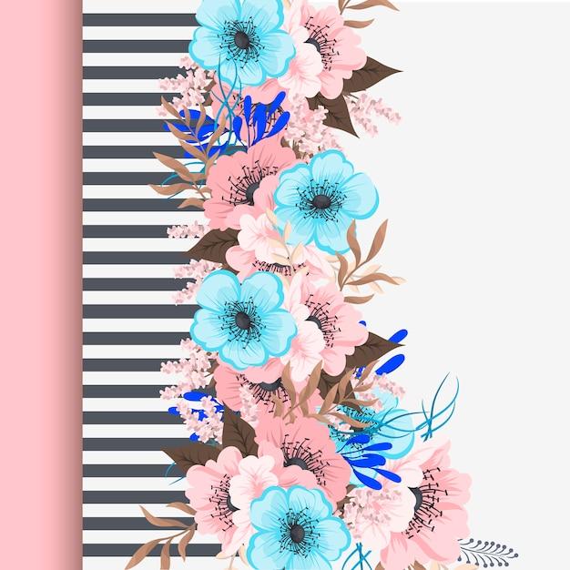 Groetkaart met bloemen, waterverf. Gratis Vector