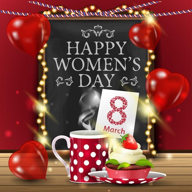 Groetkaart voor vrouwendag met bord Premium Vector