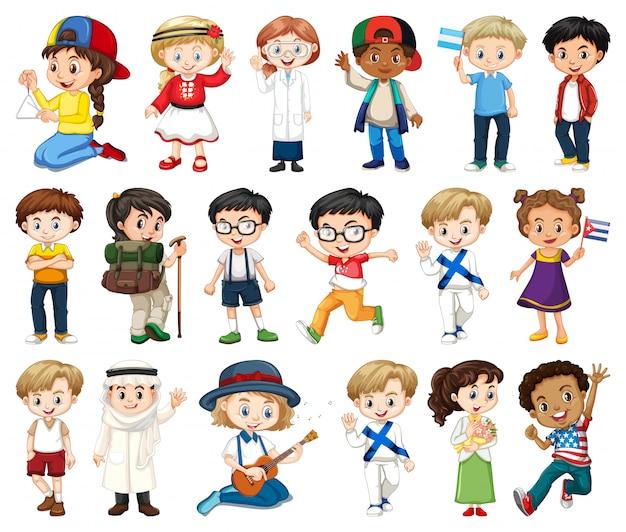 Groot aantal jongens en meisjes doen verschillende activiteiten Gratis Vector