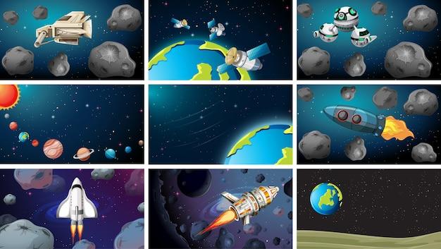 Groot aantal ruimtescènes Premium Vector