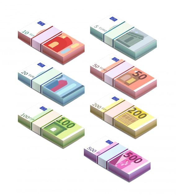 Groot aantal verschillende eurobankbiljetten in stapels in isometrische weergave. vijf, tien, twintig, vijftig, honderd, twee honderd en vijf honderd stapelen biljetten op wit Premium Vector
