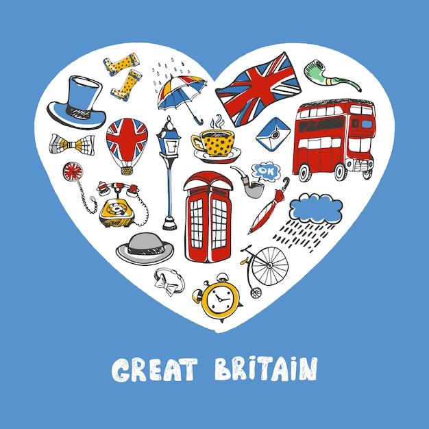 Groot-brittannië gekleurde doodles collectie Premium Vector