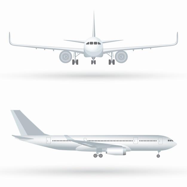 Groot commercieel straalvliegtuig. vliegtuig in profiel, van voren gezien Premium Vector