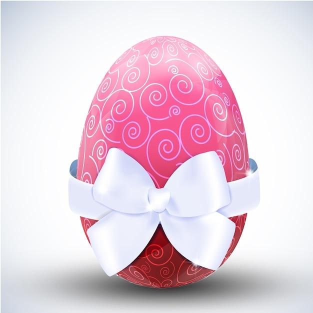 Groot gevormd roze gelukkig paasei met het zijden pictogram van de lintboog op lichte oppervlakte realistische vectorillustratie Gratis Vector