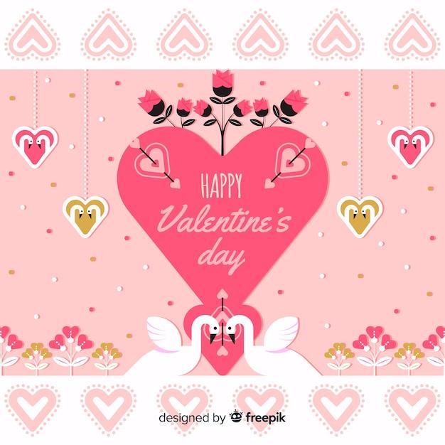 Groot hart met de valentijnskaartachtergrond van zwanen Gratis Vector