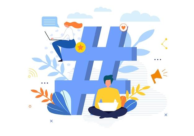 Groot hashtag-symbool met mensen die op laptop chatten Premium Vector