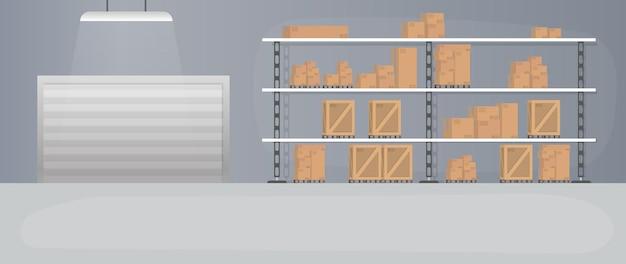 Groot magazijn met lades. rek met lades en dozen. kartonnen dozen. Premium Vector