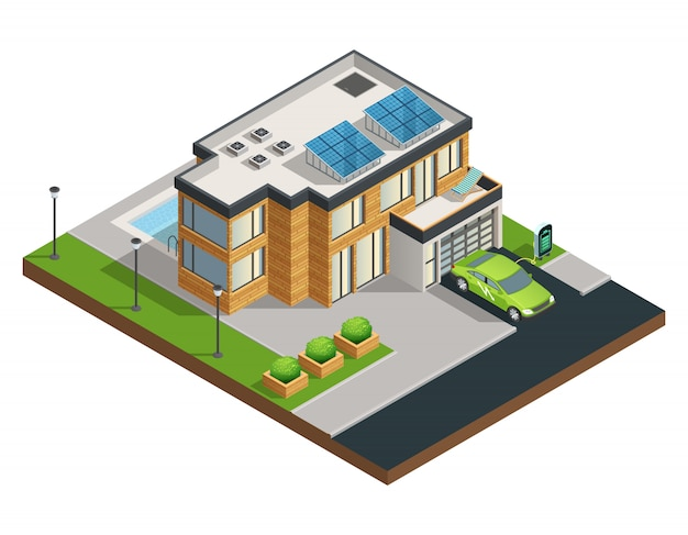 Groot modern groen ecohuis met zonnepanelen op dak mooie opgeruimde werfgarage en zwembad is Gratis Vector