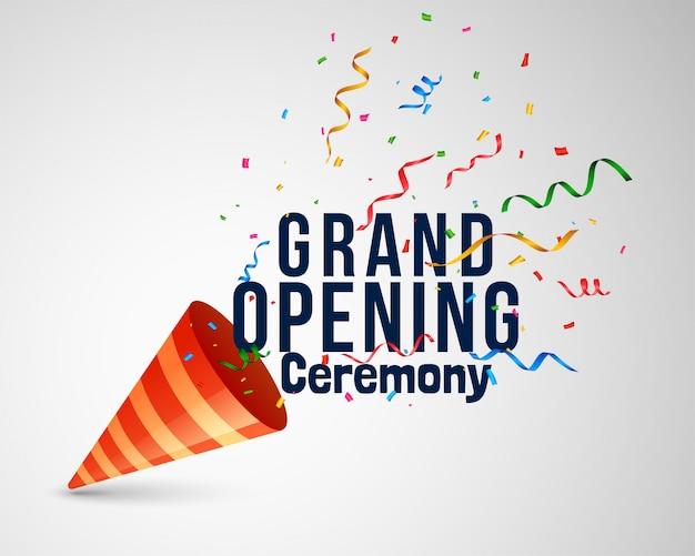 Groot openingsceremonie het van letters voorzien met confettien en glb Gratis Vector