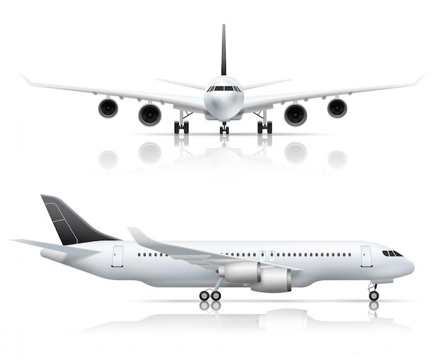 Groot passagiersvliegtuig front en zijaanzicht van het vliegtuig Gratis Vector