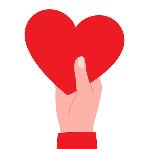 Groot rood hart ter beschikking als symbool van liefdeillustratie Premium Vector