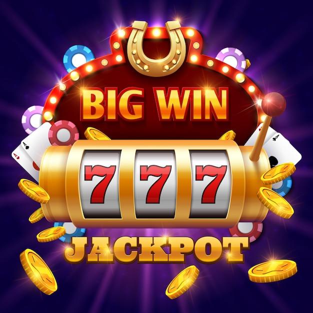 Groot win 777 concept van het loterij vectorcasino met gokautomaat. win jackpot in game slot machine illust Premium Vector