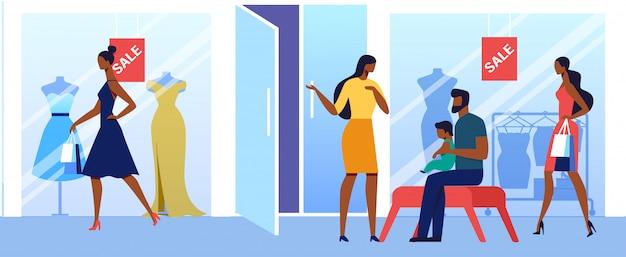Groothandel in vrouwelijke kleding Premium Vector