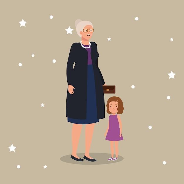 Grootmoeder met kleindochter avatar karakter Gratis Vector