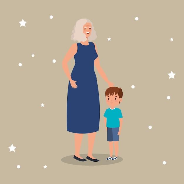 Grootmoeder met kleinzoon avatar karakter Gratis Vector