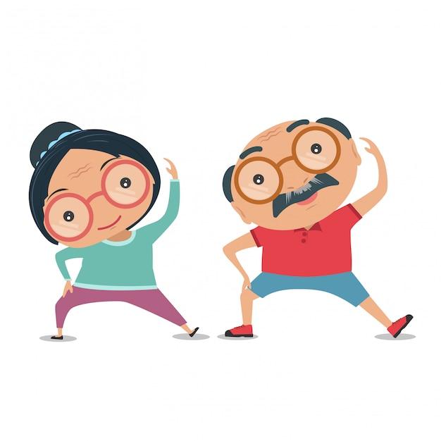 Grootouder, oude oudste de conditie om lichamelijk fit en gezond te zijn. vector en illustratie. Premium Vector