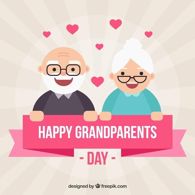 Grootouders dag achtergrond met mooie paar Gratis Vector