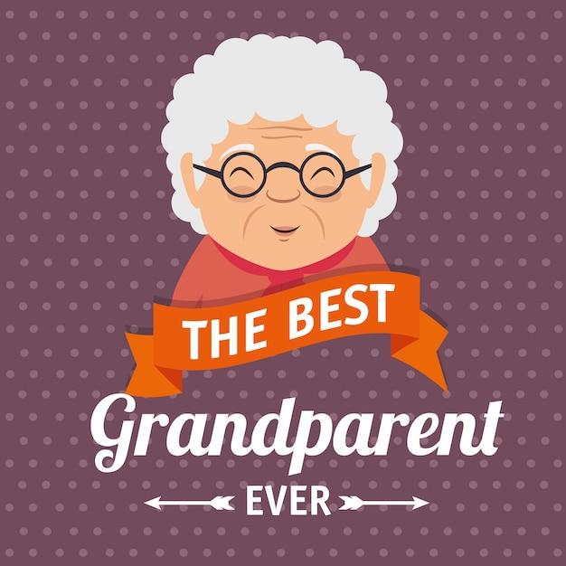 Grootouders dag wenskaart Premium Vector