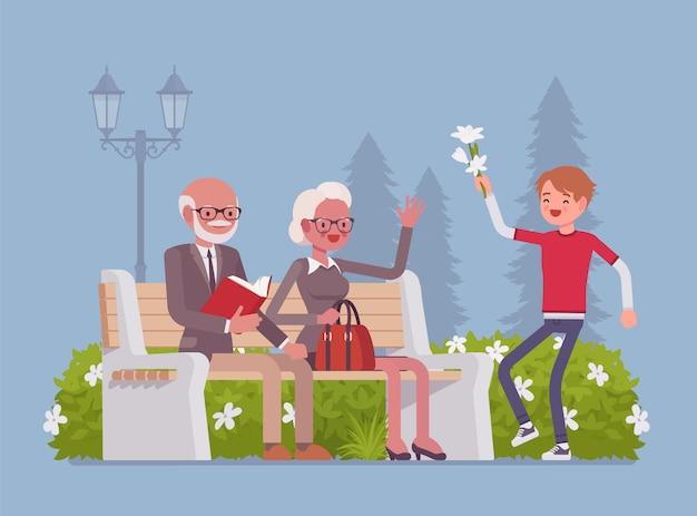 Grootouders en kleinzoon in park. gelukkig gepensioneerde ouderen ontmoeten kleinkind, zijn vrienden en hebben een goede relatie, genieten samen van de buitenlucht. stijl cartoon illustratie Premium Vector