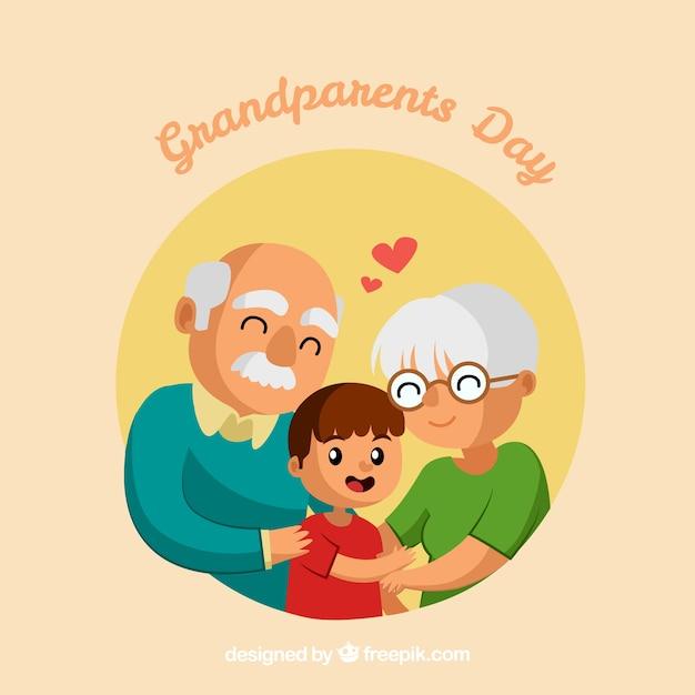 Grootouders houden van hun kleinzoon Gratis Vector