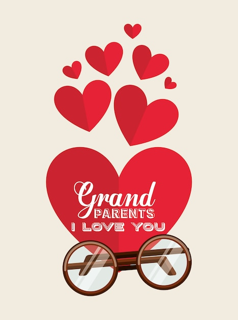 Grootouders houden van je harten Gratis Vector