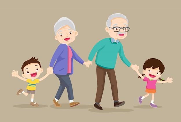 Grootouders met kinderen zijn wandelaar Premium Vector