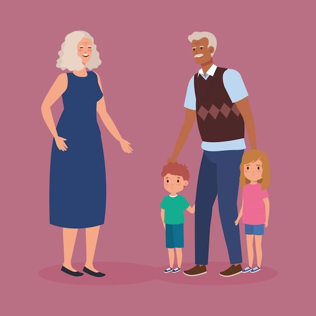 Grootouders met kleinkinderen avatar karakter Gratis Vector