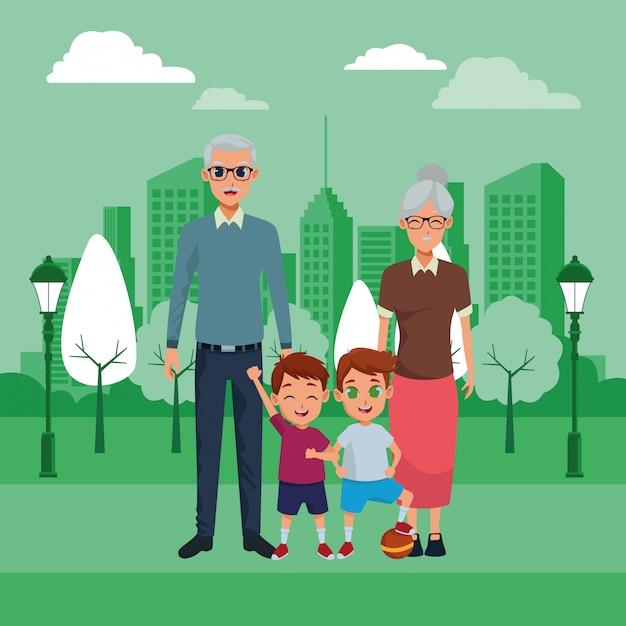 Grootouders van familieleden en kleinkinderen Gratis Vector