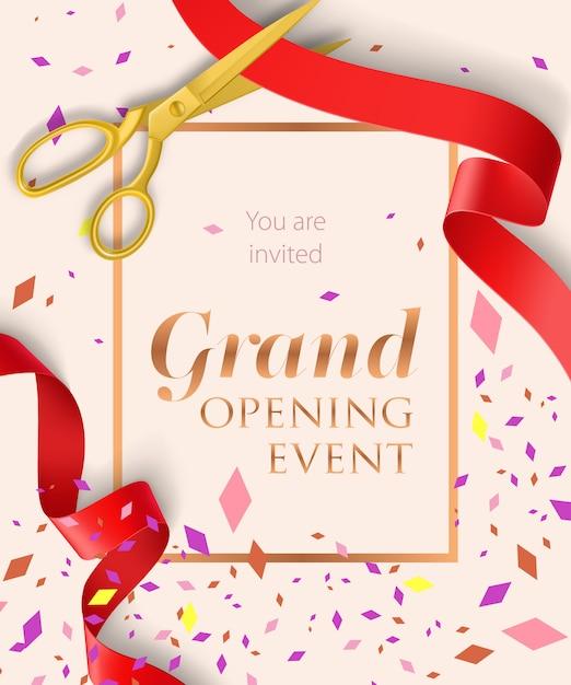 Grootse opening evenement belettering met confetti Gratis Vector