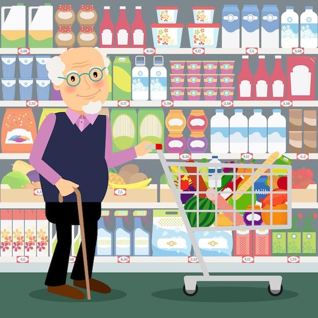 Grootvader in winkel. bejaarde in opslag met boodschappenwagentjshoogtepunt van kruidenierswinkels vectorillustratie Premium Vector
