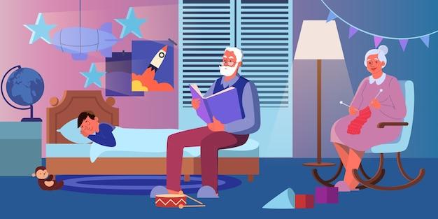 Grootvader leest hardop een boek voor aan zijn kleinzoon. oude dame breien Premium Vector