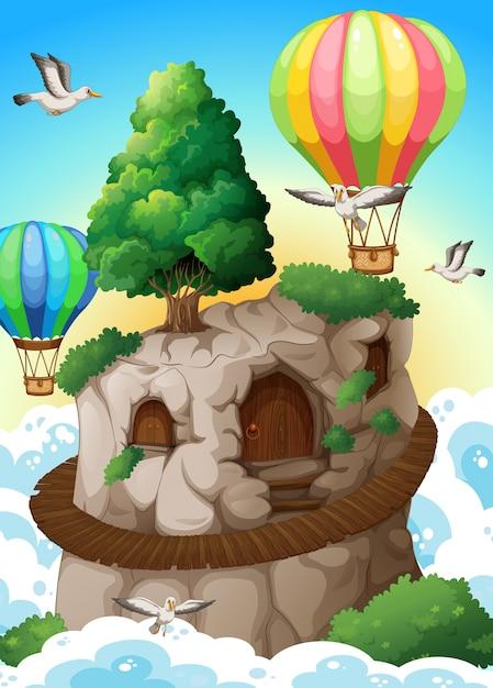 Grot en ballonnen Gratis Vector