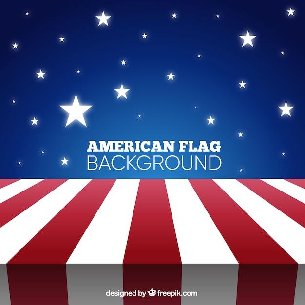 Grote achtergrond met amerikaanse vlag en glanzende sterren Gratis Vector