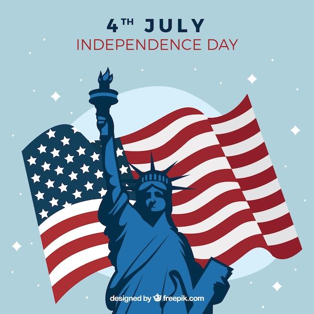 Grote achtergrond met amerikaanse vlag en standbeeld van vrijheid Gratis Vector