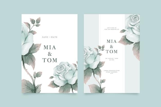 Grote bloem bruiloft uitnodiging sjabloon Gratis Vector