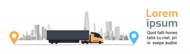 Grote cargo-vrachtwagen over de stad van het silhouet op levering leidt de snelle horizontale banner van het logistiekvervoer concept Premium Vector