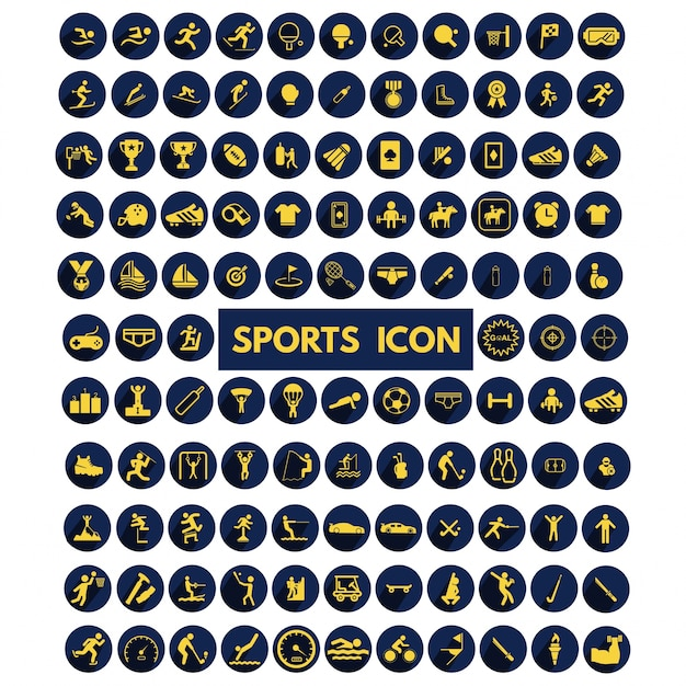 Grote collectie sport pictogrammen instellen Gratis Vector