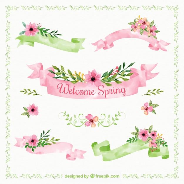 Grote collectie van de lente linten in aquarel stijl Gratis Vector
