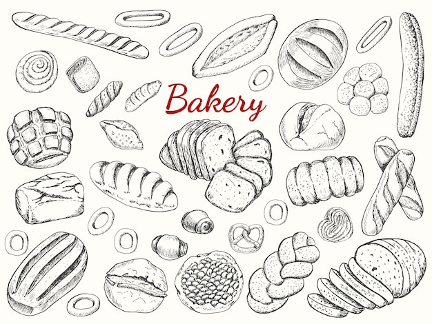 Grote collectoin van bakery Premium Vector