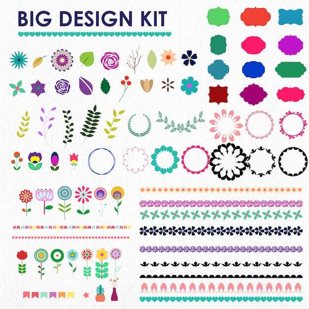 Grote decoratie design kit Gratis Vector
